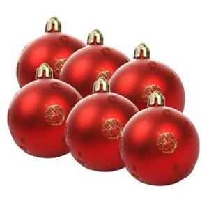 Bola de Natal Fosca 6 cm Vermelha - 6 Unidades
