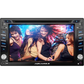 Central Multimídia Aquarius  DVD Player Automotivo 2 DIN Tela 6.2 Touch Screen Micro SD USB - Preto