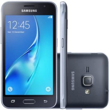 Smartphone Samsung Galaxy J1 2016 J120H Preto - Dual Chip, 3G, tela 4.5 Super AMOLED, Câmera 5MP + Frontal 2 MP, Quad Core 1.2 Ghz, 8GB, Android 5.1
