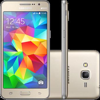 """Smartphone Samsung Galaxy Gran Prime Duos Dual Chip Android Tela 5"""" Memória Interna 8GB 3G Câmera 8MP - Dourado"""
