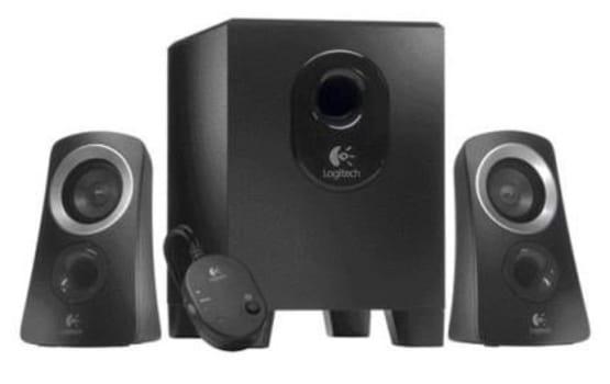 Caixa de Som Logitech Speaker System Z313 25W Rms, Subwoofer Compacto, Entrada Para Fone de Ouvido