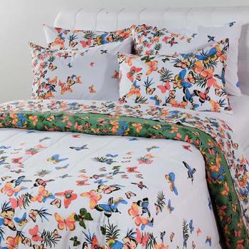3fd7150377 Enxoval Cama Casal Papillon Vert 7 Peças - Casa   Conforto (Cód. 124463533)