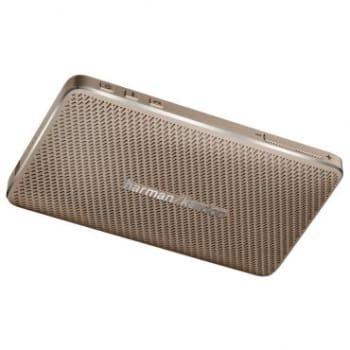 Caixa de Som Bluetooth Esquire Harman Kardon - 8W RMS, Portátil, USB, Bateria Recarregável, IOS e Android, Acabamento em Couro, Dourado