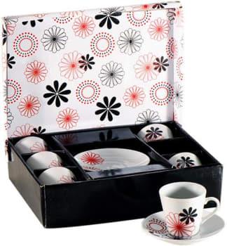 Conjunto de Xícaras  para Café em Porcelana 12 Peças Vermelho e Preto com Caixa Decorada - Hazi UD