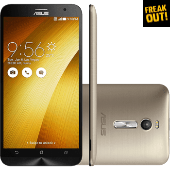 "Smartphone Asus Zenfone 2 Dual Chip Android 5.0 Lollipop Tela 5.5"" 32GB 4G Wi-Fi Câmera 13MP - Gold"