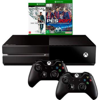 Console Xbox One 500GB + 2 Jogos + 2  Controles Sem Fio