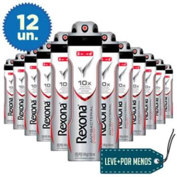 Leve Mais Pague Menos: 12 Desodorantes Aerosol Rexona Men Antibacterial Protection 150ml