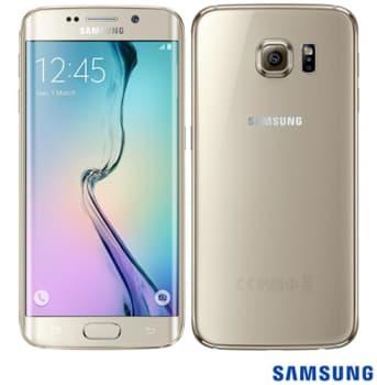 """Samsung Galaxy S6 Edge Dourado com 5,1"""", 4G, Android 5.0, Octa-Core, 32GB, Câmera 16 MP"""