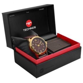 Kit Relógio Masculino Analógico Technos, Pulseira de Couro Marrom + Carteira de Couro Marrom - 2115KNZ/K0M