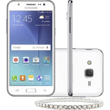 "Smartphone Samsung Galaxy J5 Duos Dual Chip Android 5.1 Tela 5"" 16GB 4G Câmera 13MP Branco + Pulseira Swarovski (Cód. 129346774)"