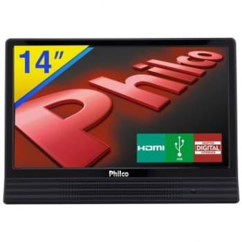 """TV LED 14"""" Philco com Receptor Digital Integrado, Sleep timer, Conexões HDMI e USB, Bivolt - PH14E10D"""