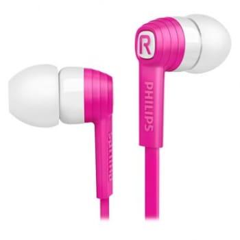 Fone de Ouvido Intra Auricular Philips Coleção CitiScape Indies com Cabo Flat que Não Embaraça e Proteção Emborrachada - Rosa e Branco - SHE7050PK